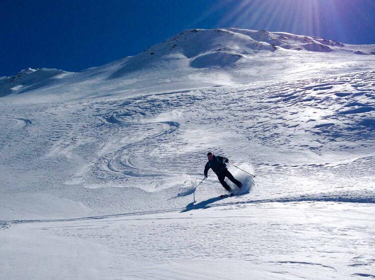 Abfahrt Auf Der Skitour Am Staller Sattel