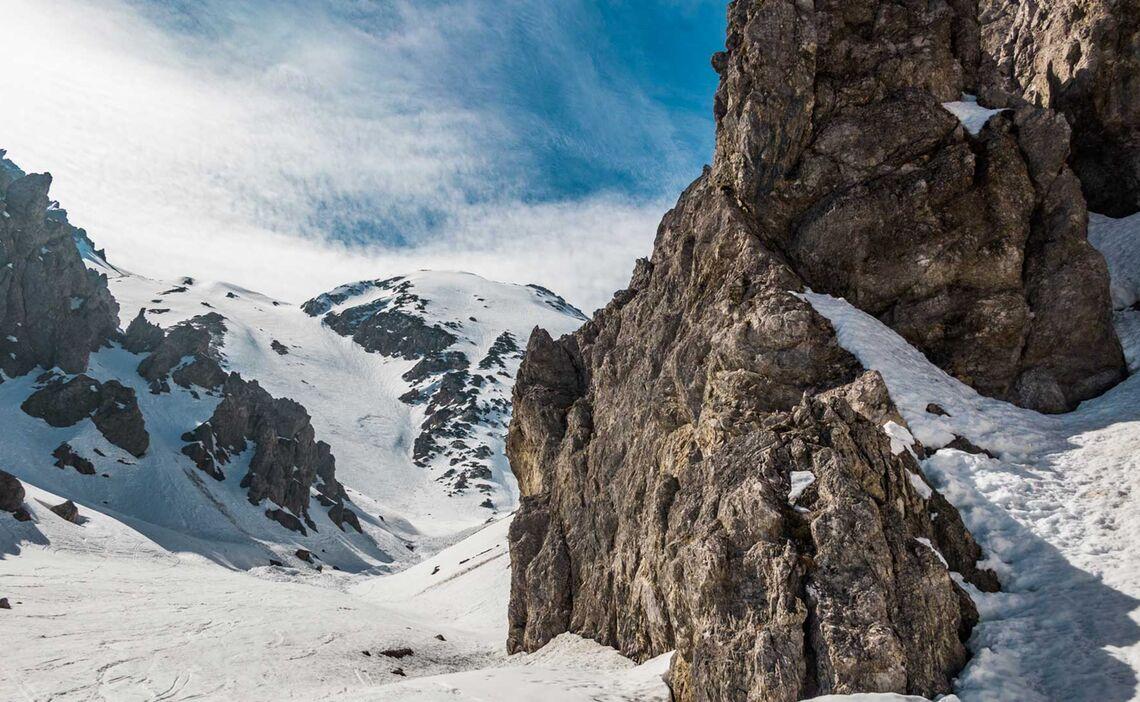 Abfahrt Durch Den Loferer Seilergraben Auf Der Grossen Reibe In Berchtesgaden