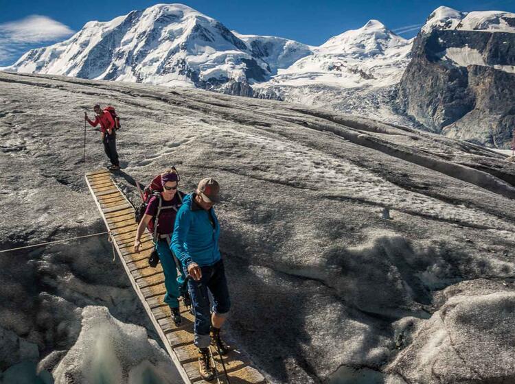 Abstieg Von Der Monterosahuette Im Hintergrund Der Lyskamm Und Castor