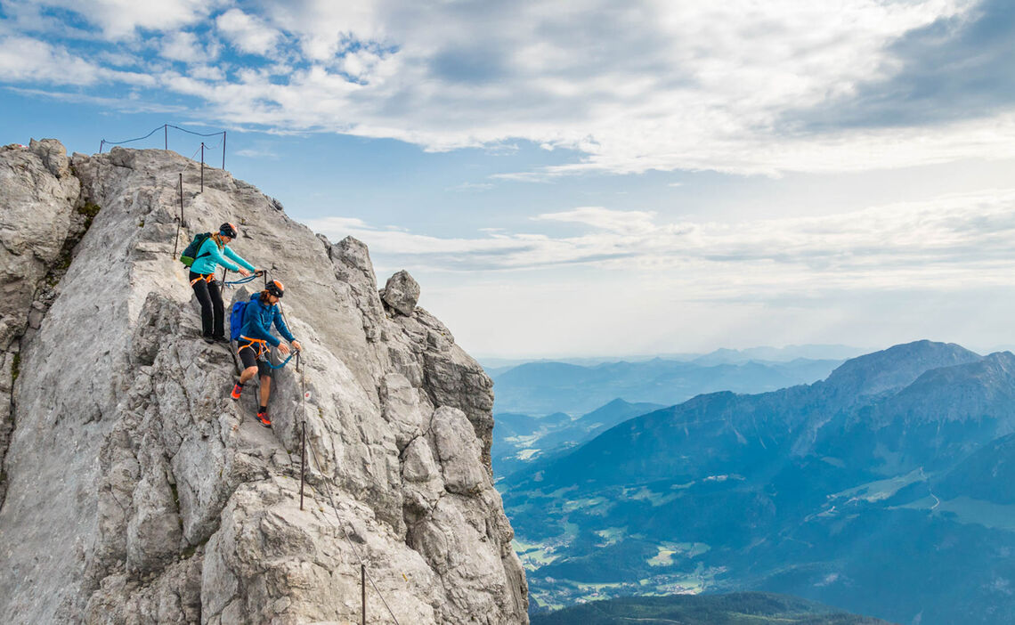 Am Klettersteig Der Watzmann Ueberschreitung In Berchtesgaden
