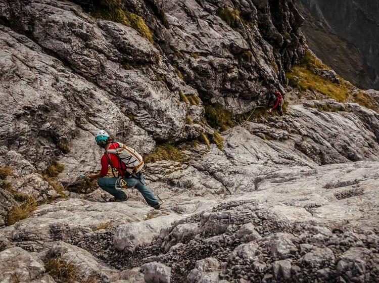 Bergfuehrer Am Ersten Sporn In Der Watzmann Ostwand