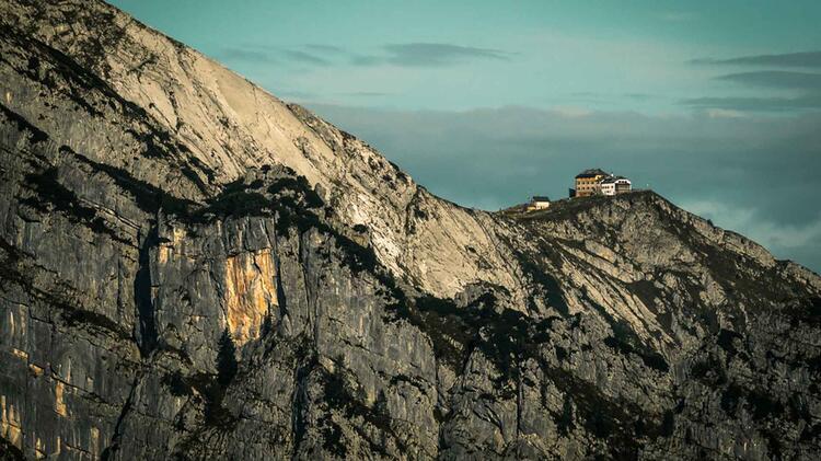 Blick Zum Watzmann Haus Von Der Gotzen Alm Auf Der Wanderung Rund Um Den Koenigssee