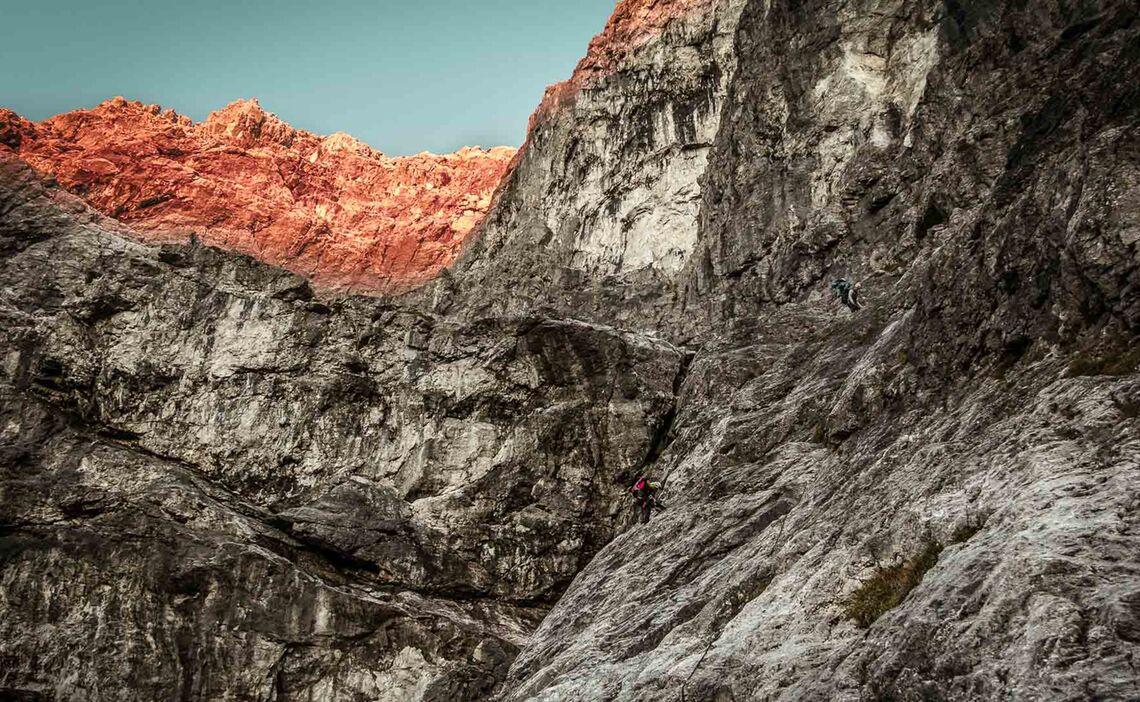 Die Erste Kletterstelle In Der Watzmann Ostwand An Der Wasserfallplatte