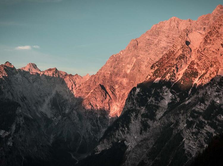 Die Watzmann Ostwand Am Morgen Von Der Gotzenalm Im Nationalpark Berchtesgaden