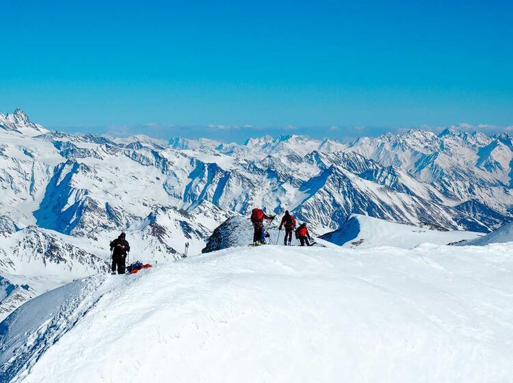 Gipfel Grat Am Grossvenediger Mit Schneeschuhen