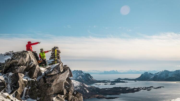 Gipfel Szenerie Mit Meerblick In Norwegen Auf Den Lofoten