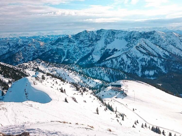 Gipfelblick Auf Der Schneeschuhtour Zur Rotwand Am Spitzingsee