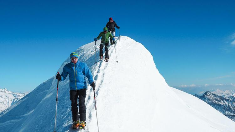 Gipfelgrat Am Grossvenediger Mit Steigeisen