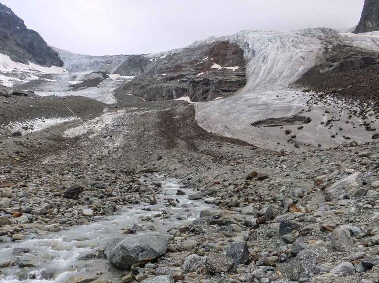 Gletscher Am Jamtalferner Hinter Der Jamtalhuette