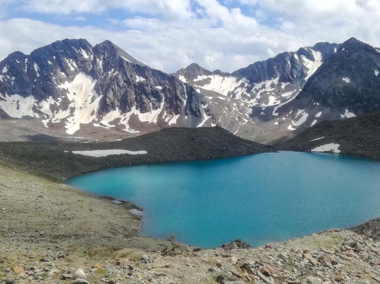 Gletschersee Auf Der Alpen Ueberquerung Nach Meran