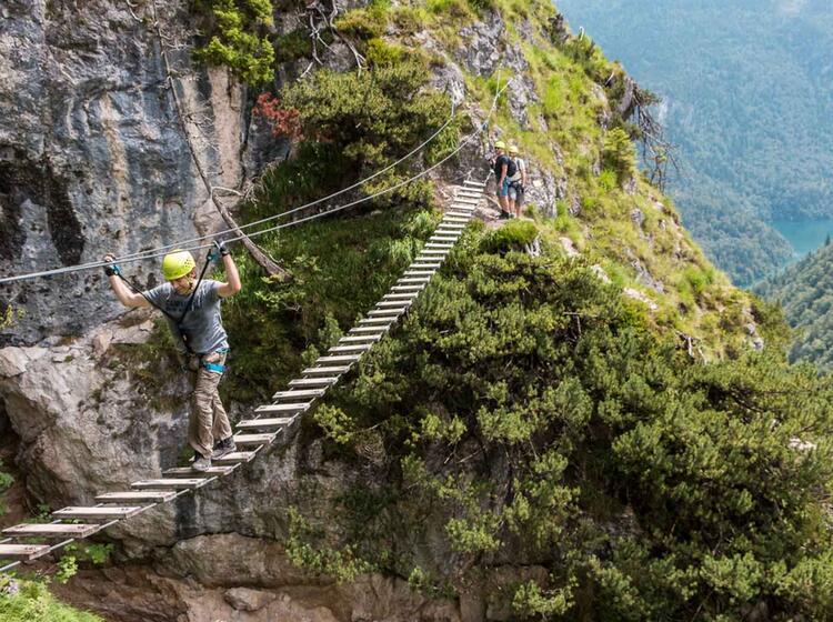 Haengebruecke Am Klettersteigkurs Berchtesgaden Am Gruenstein