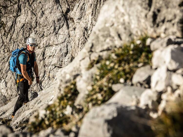 Im Zweiten Drittel Der Watzmann Ostwand Kurz Vor Der Gipfelschlucht