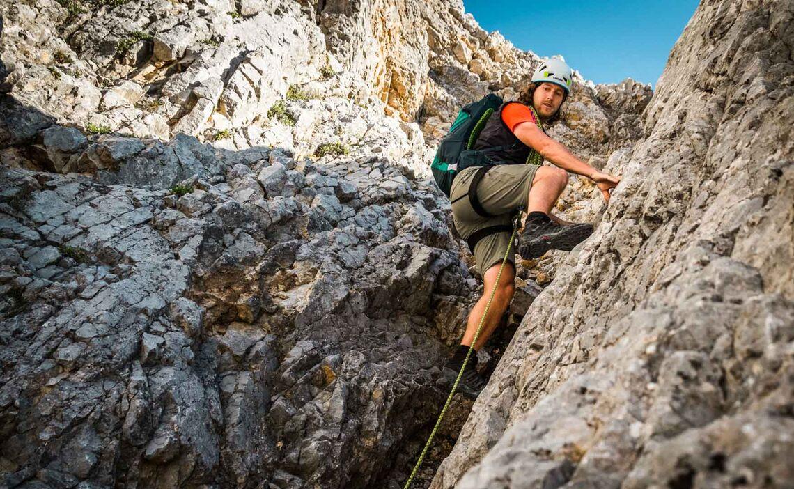 Kletterei In Der Roten Rampe Zum Grossen Band In Der Watzmann Wiederroute