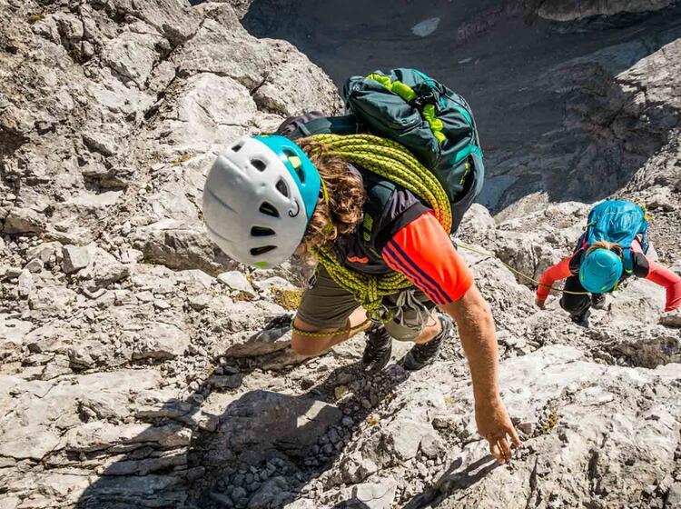 Klettern Mit Seilsicherung In Der Wiederroute Am Watzmann