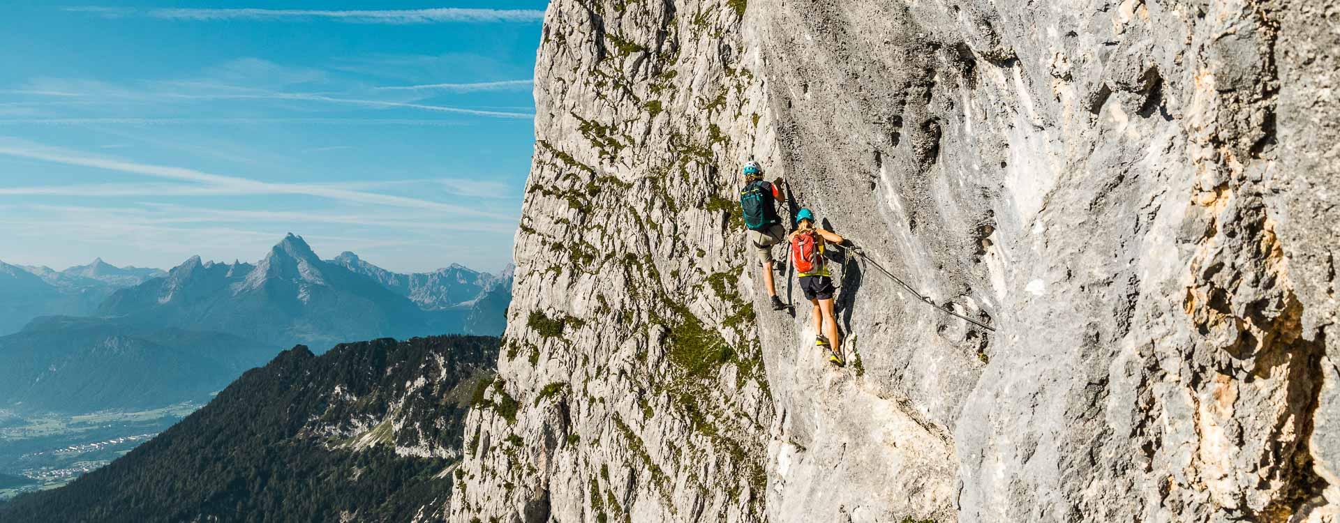 Klettersteig Fuehrung in Berchtesgaden auf den Untersberg