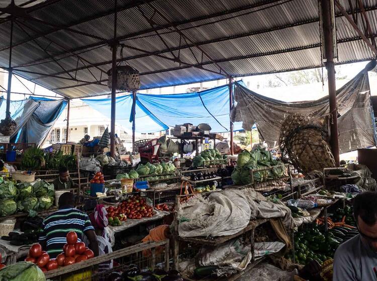 Landestypischer Markt Beim Trekking Am Kilimandscharo