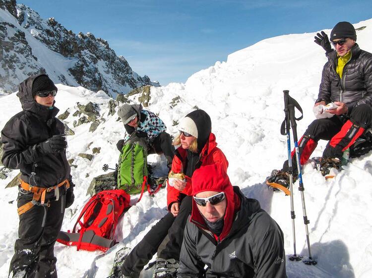 Pause Auf Der Schneeschuhtour Silvretta