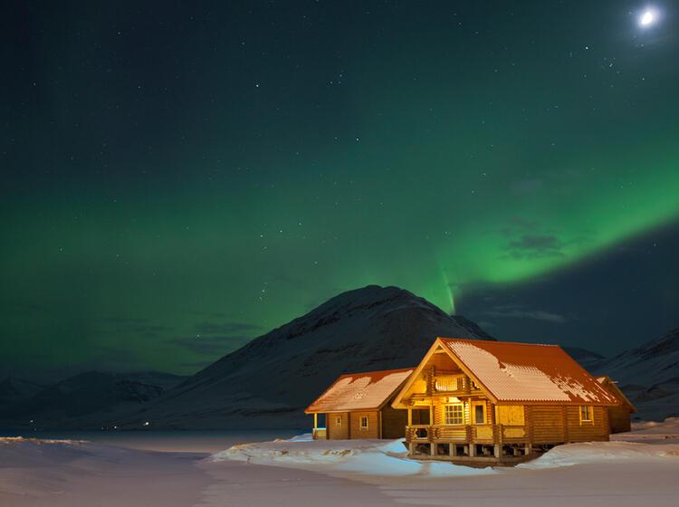 Polarlicht Auf Der Skitourenreise Island