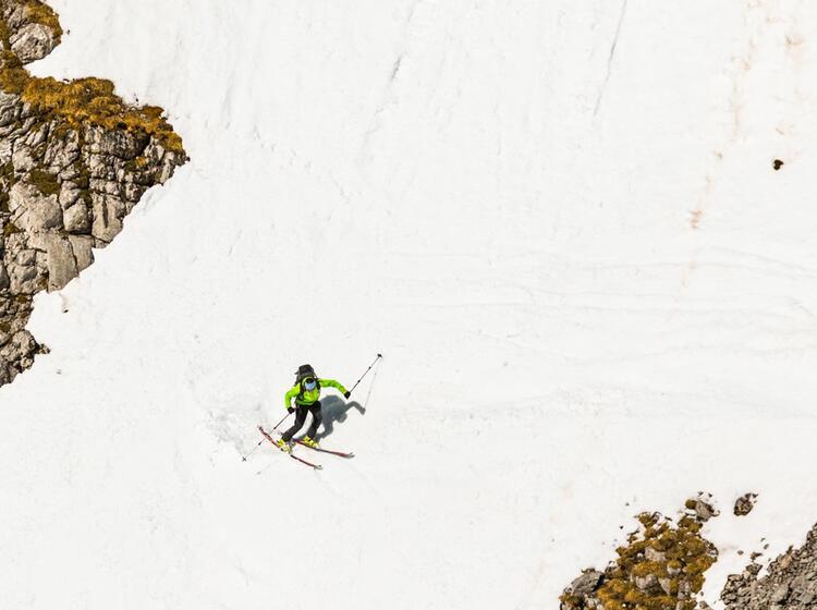 Steile Abfahrt Auf Der Grossen Reibe Im Eisgraben