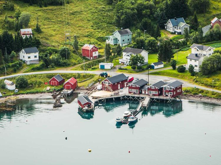 Tiefblick Auf Die Lodge Im Lyngenfjord Bei Der Wanderwoche