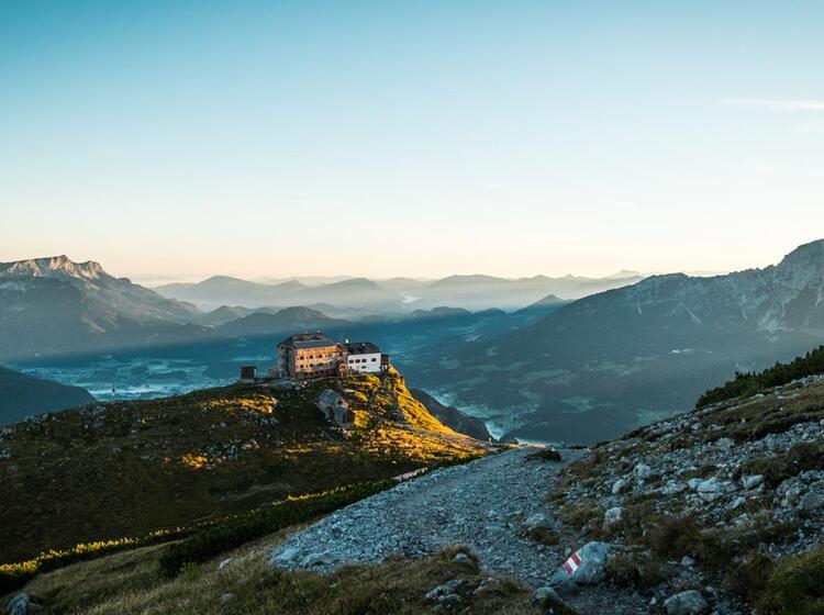 Wanderung Zum Watzmann Gipfel Am Morgen